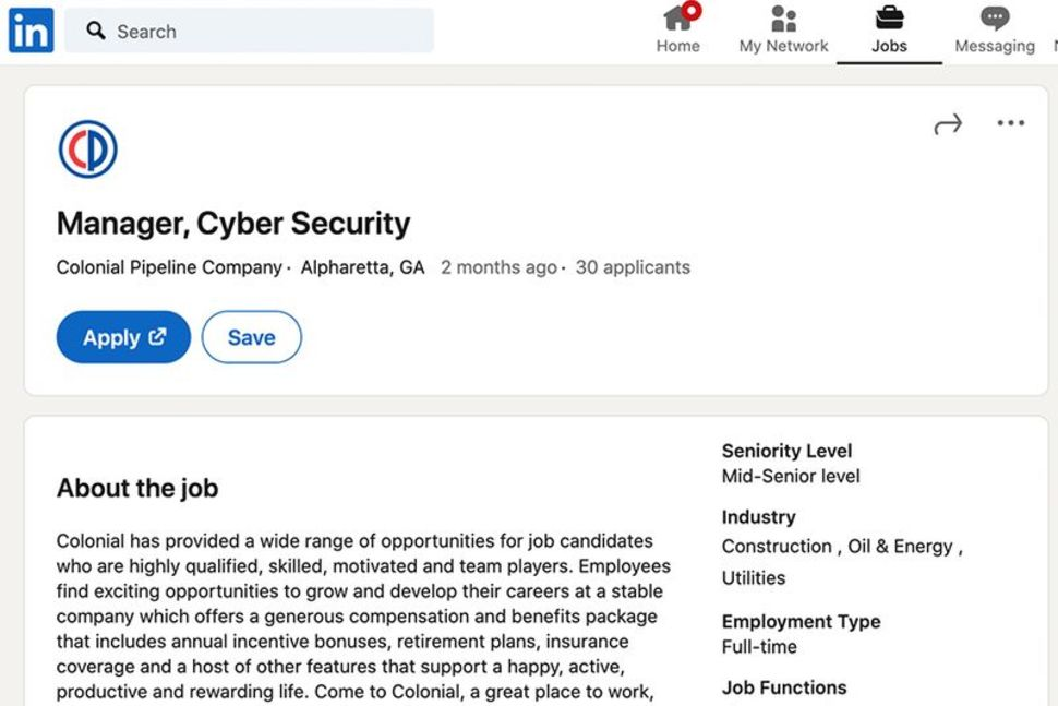 Tough job to fill? Colonial pipeline cyber manager job goes vacant