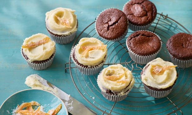 Kate's rye chocolate cupcakes with orange frosting by Luminary Bakery